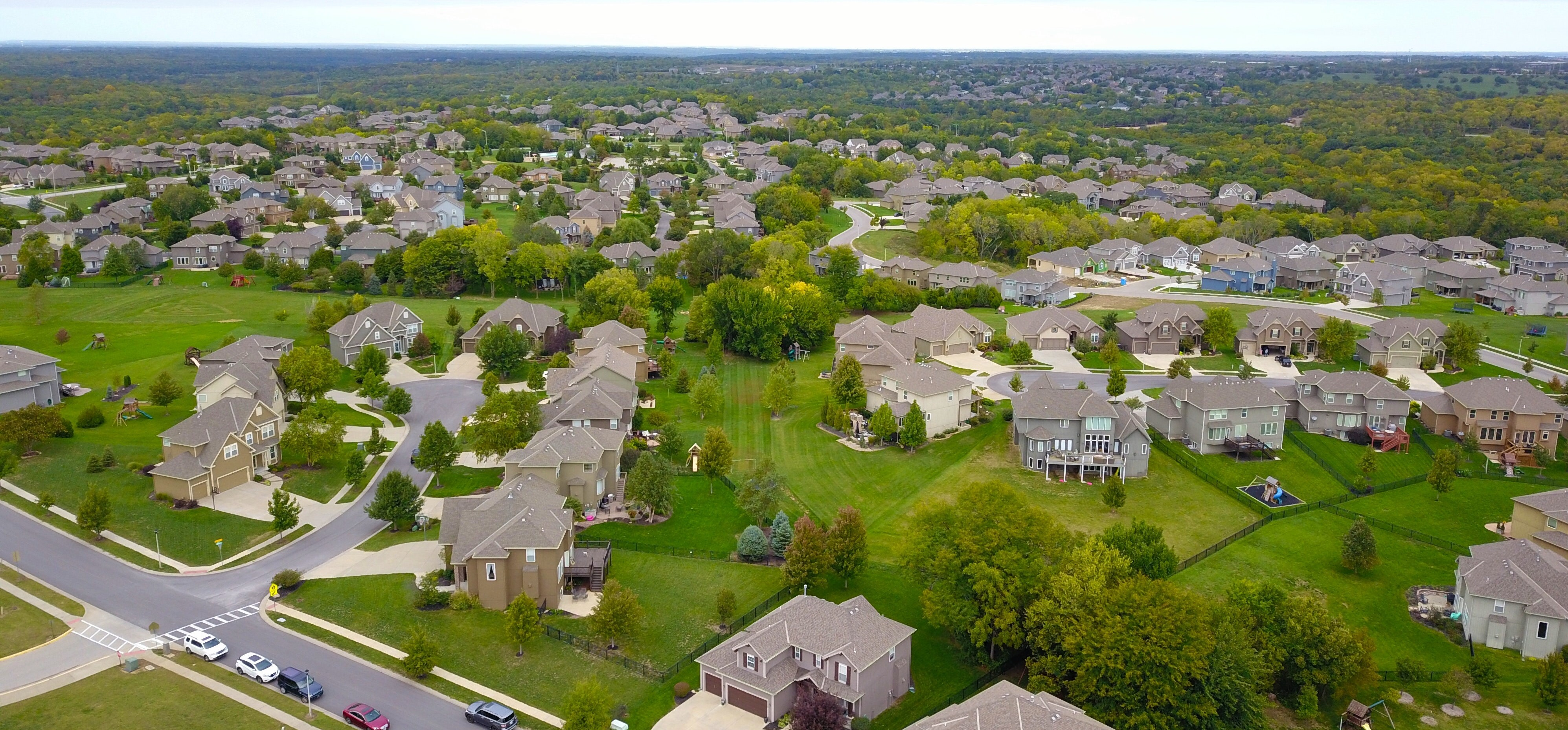 aerial picture of community homes in rural new york
